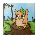 Little Owl's Math Lesson Ceramic Tile