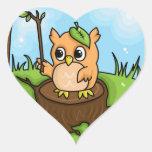 Little Owl's Math Lesson Heart Sticker