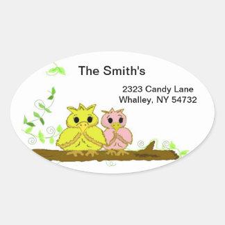 Little Owls on a Branch Oval Sticker