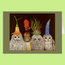 Little owls on Big Hat Night card