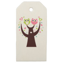 Little Owls on white tshirts Wooden Gift Tags