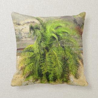 Little Palm Tree Near Railroad Tracks Pillow