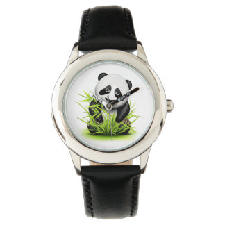Little panda and bamboo on grass wristwatches