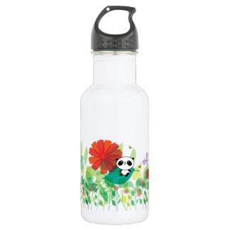 Little panda sits in the flowers 18oz water bottle