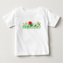 Little panda sits in the flowers baby T-Shirt