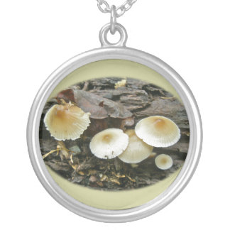 Little Parasols Mushrooms on Log Silver Plated Necklace