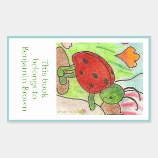 Little party bug bookplate rectangular sticker
