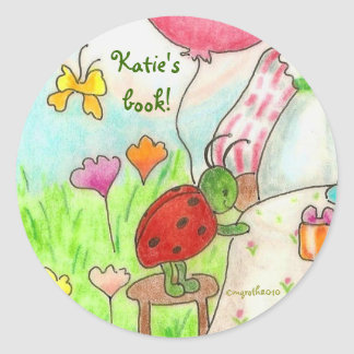 little party bug bookplate classic round sticker