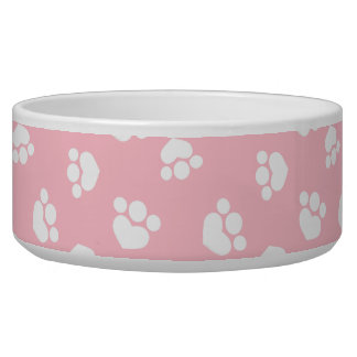 Little Paw Print Hearts Baby Pink Pooch Bowl