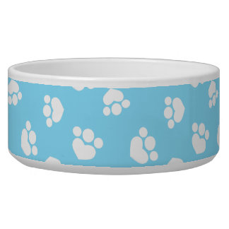 Little Paw Print Hearts Carribean Pooch Dog Food Bowl
