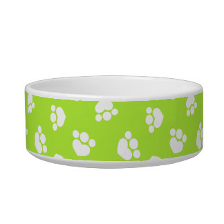 Little Paw Print Hearts Olive Kitty Bowl