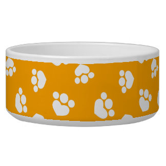Little Paw Print Hearts Tangerine Pooch Bowl