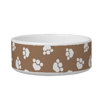 Little Paw Print Hearts Taupe Kitty Bowl