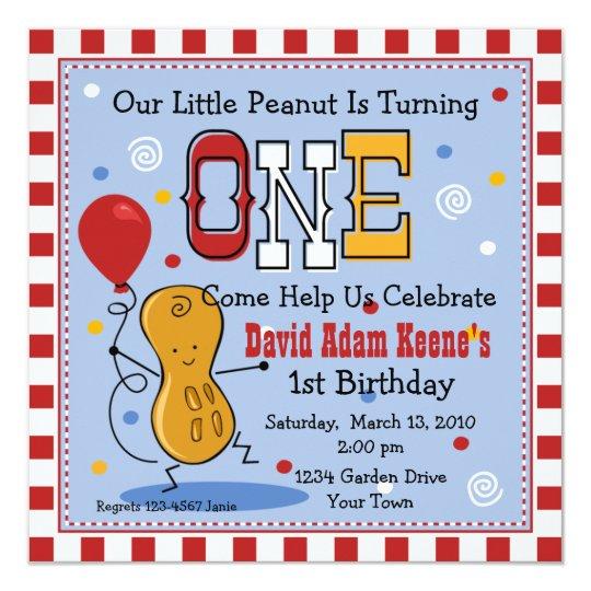 Little Peanut 1st Birthday Party Invitation