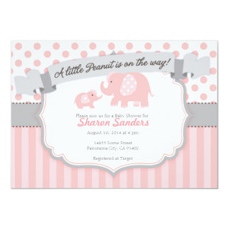 *Little Peanut* Baby Girl Elephant Invitation