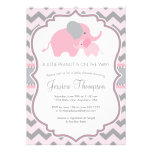 baby shower invitation, chevron, baby girl,