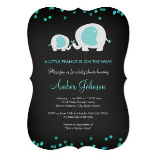 Little Peanut Chalkboard Blue Baby Shower Invite