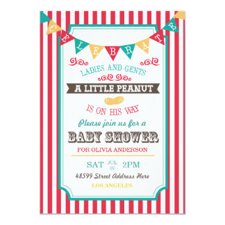 "Little Peanut Circus Baby Shower Invite 5"" X 7"" Invitation Card"