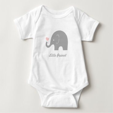 Valentines Themed Little Peanut Elephant Baby Bodysuit, Pink Heart Baby Bodysuit