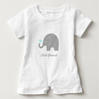 Little Peanut Elephant Baby Romper, Blue Heart Baby Romper