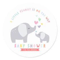 Little Peanut Elephant | Baby Shower | Rainbow Classic Round Sticker