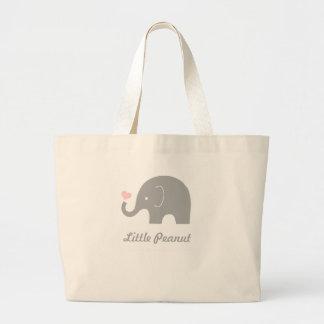 Little Peanut Elephant Tote Bag, pink heart