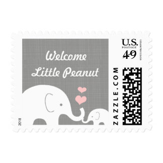 Little Peanut Elephant with Pink Hearts Postage
