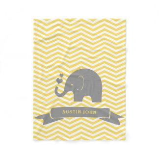 Little Peanut Personalized Elephant Yellow Grey Fleece Blanket