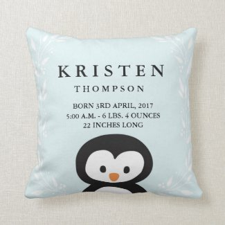 Little Penguin Baby Birth Announcement Pillow