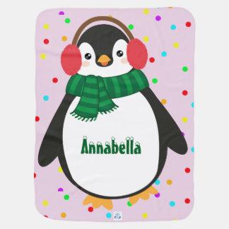 Little Penguin Baby Blanket (add child's name)