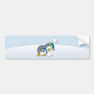 Little penguin getting a snow ball bumper sticker