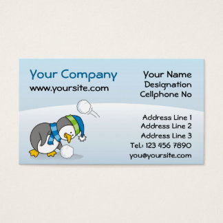 Little penguin getting a snow ball business card
