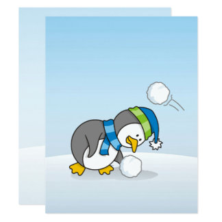 Little penguin getting a snow ball card