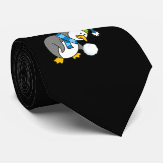 Little penguin getting a snow ball neck tie