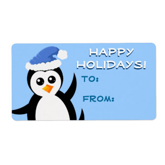 """Little Penguin"" Happy Holidays Gift Tags Label"