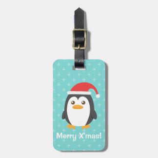 Little Penguin Santa Hat Christmas Luggage Tag