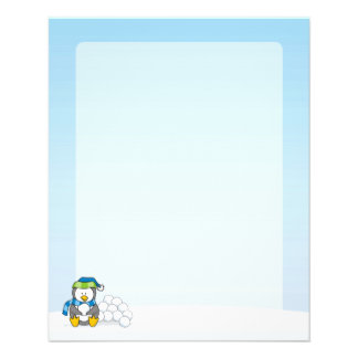 Little penguin sitting with snowballs flyer
