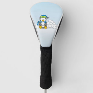 Little penguin sitting with snowballs golf head cover