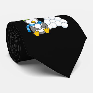 Little penguin sitting with snowballs neck tie
