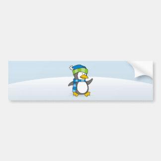 Little penguin walking on snow bumper sticker