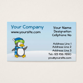 Little penguin walking on snow business card