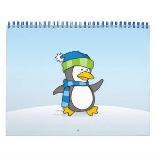 Little penguin walking on snow calendar