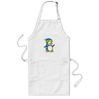 Little penguin walking on snow long apron