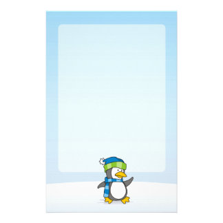 Little penguin walking on snow stationery