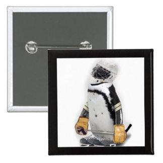 Little  Penguin Wearing Hockey Gear Buttons