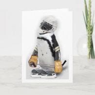 Little  Penguin Wearing Hockey Gear Card
