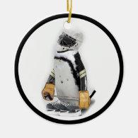 Little  Penguin Wearing Hockey Gear Ceramic Ornament
