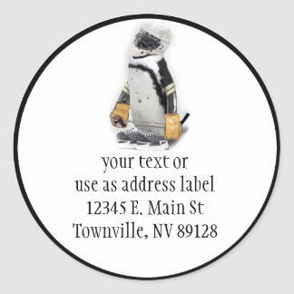 Little  Penguin Wearing Hockey Gear Classic Round Sticker