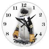 Little Penguin Wearing Hockey Gear Clocks