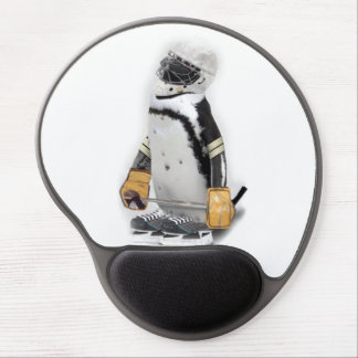 Little Penguin Wearing Hockey Gear Gel Mousepads
